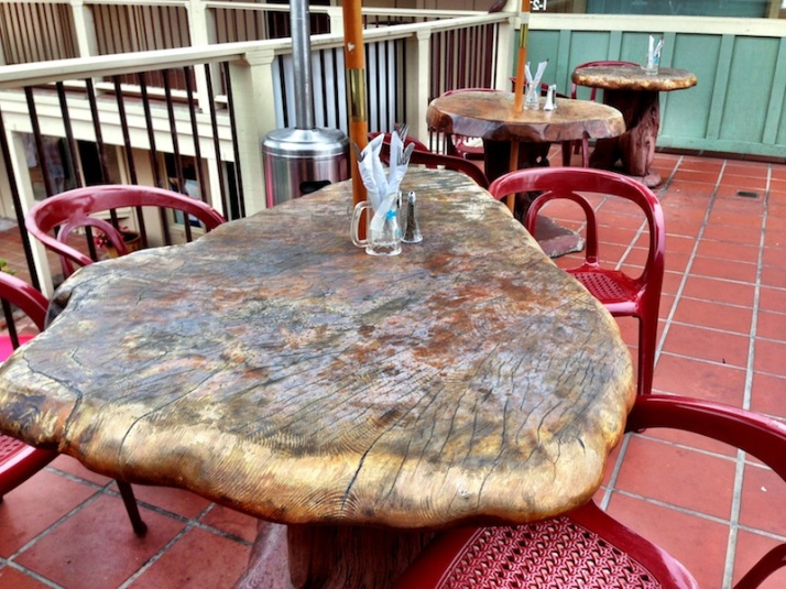 I love these large wooden tables.
